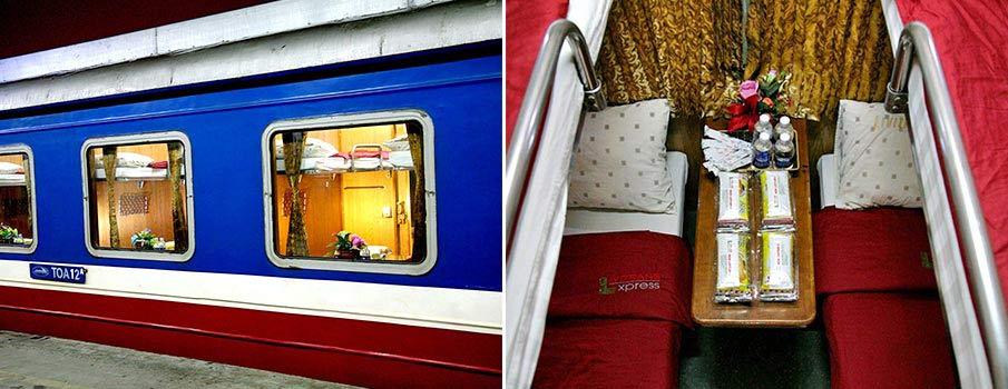 jeden z nejluxusnějších vlaků ve Vietnamu»Mini bar na hlavě každého vozu»Klimatizace, bezplatná minerální voda, občerstvení